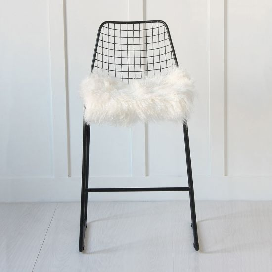 Black Wire Bar Stool with 100% Mongolian Fur Seat Pad