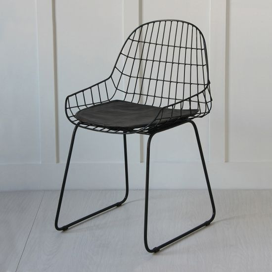 Black Wire Arm Chair, Black Seat Pad