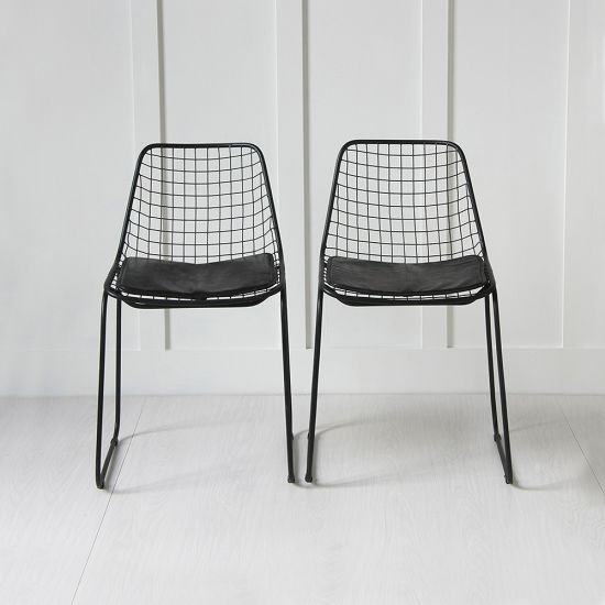 Black Wire Chair, Black Seat Pad