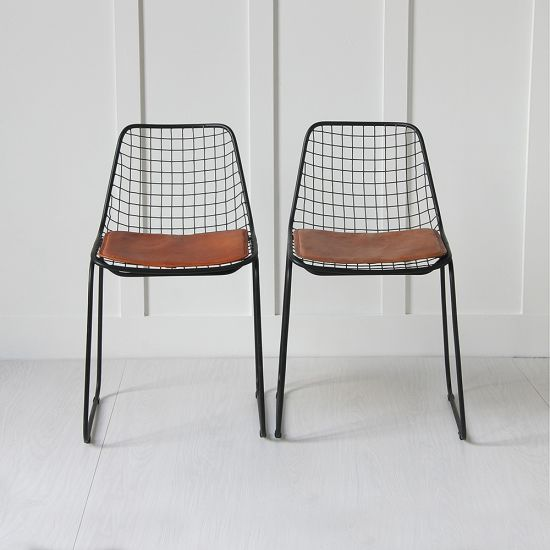 Black Wire Chair, Tan Seat Pad