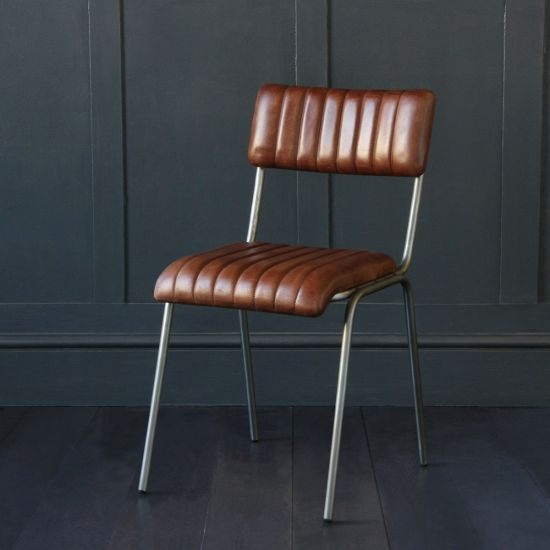 The Diner Brown Leather Ribbed Dining Chair
