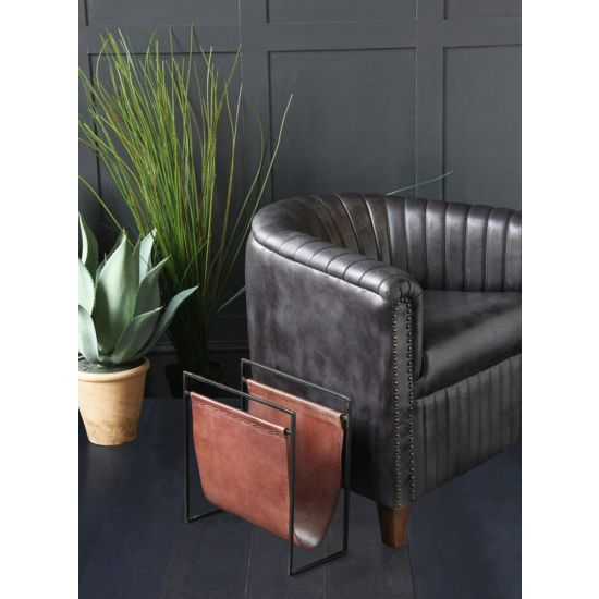 Soho Leather Magazine Rack, Brown Leather Black Frame
