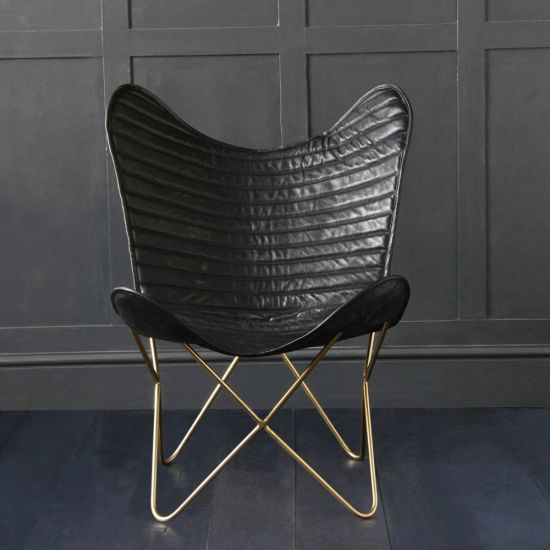 Butterfly Accent Chair, Genuine Leather, Black/Gold, Ribbed
