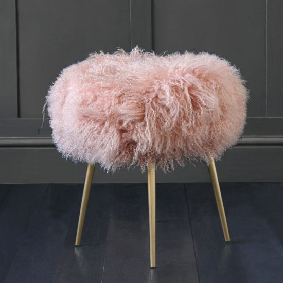 100% Genuine Mongolian Lamb Stool with Gold Pencil Leg, Dusky Pink