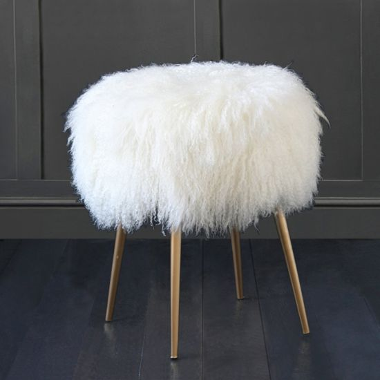 100% Genuine Mongolian Lamb Stool with Gold Pencil Leg, Natural