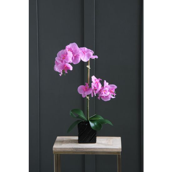 ORCHID ARTIFICIAL PLANT PINK FLOWER BLACK ETCHED POT 65 CM