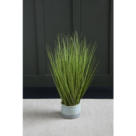 GRASS ARTIFICIAL PLANT TREE 76 CM IN FOOTED IN REACTIVE GLAZE POT