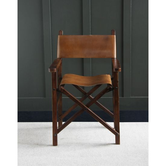 Directors Chair with Solid Wood Folding Frame - Brown Leather