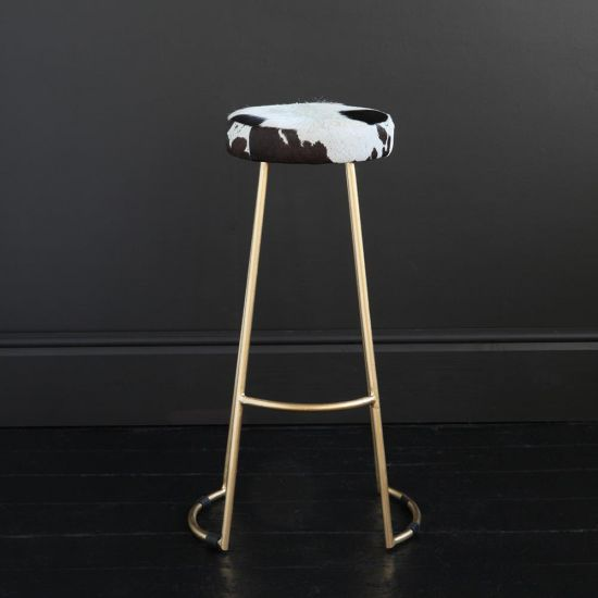 TAPAS INDUSTRIAL BAR STOOL BLACK & WHITE SEAT 75 CM GOLD BASE