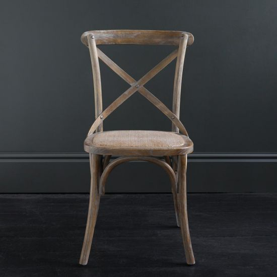 FRENCH Cross Back BENTWOOD Dining Chair, Café, Restaurant, Kitchen, Weathered Elm