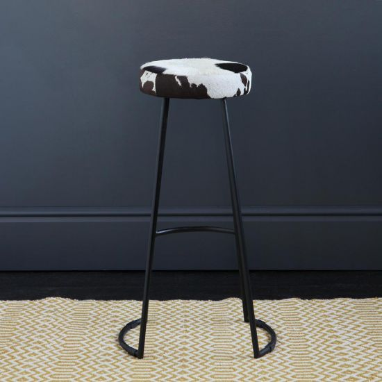 TAPAS INDUSTRIAL BAR STOOL BLACK & WHITE SEAT 78 CM BLACK BASE