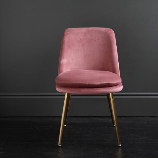 The Chelsea – Velvet Dining Chair – In Dusky Pink