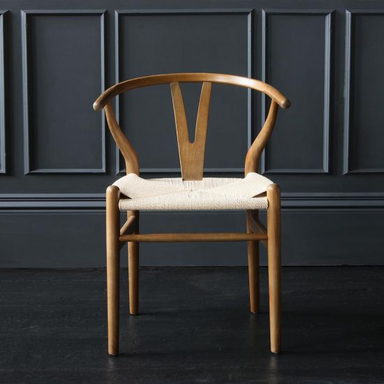 Wishbone Dining Chairs Hans Wegner Reproduction Dark Oak and Natural Seat