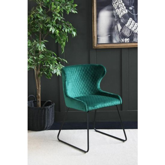 Velvet Dining Chair – 70s Kitsch – Comfortable Dining Chair-Green