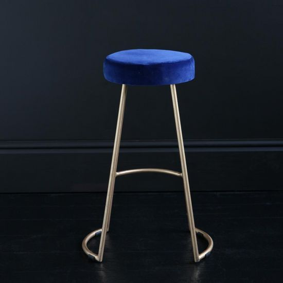Tapas Velvet Cocktail Bar Stools - Azure Blue Velvet Seat - Gold base - 67cm
