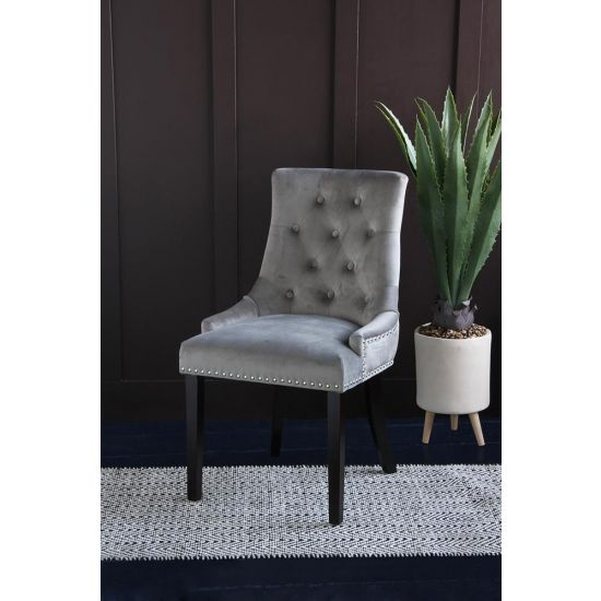 Kensington Silver Velvet Knocker Back Upholstered Chair with Studs