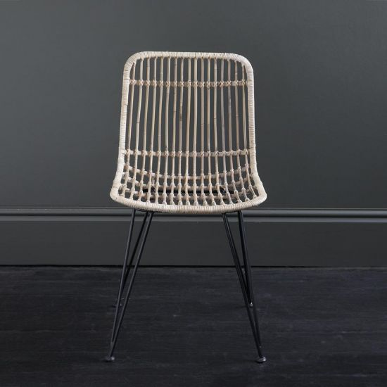 Rattan Dining Chair Natural Grey Open Weave Black Metal Legs