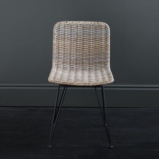 Lombok Rattan Dining Chair Natural Grey Closed Weave Black Metal Legs