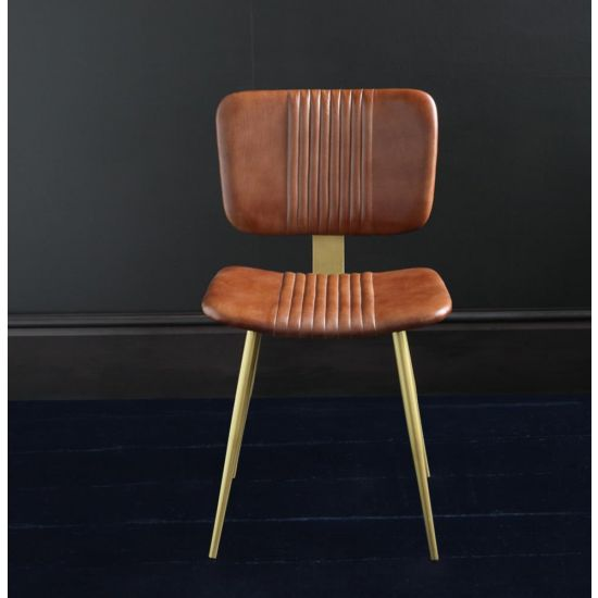 THE ENFIELD DINING CHAIR IN BROWN BUFFALO LEATHER WITH DULL GOLD COLOURED PENCIL LEGS
