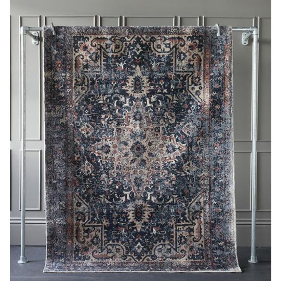 Torvi Rug Mat Carpet Natural Teal Blue Polyester 230cm x 160cm Bedroom Living Room Mid Century Bohemian