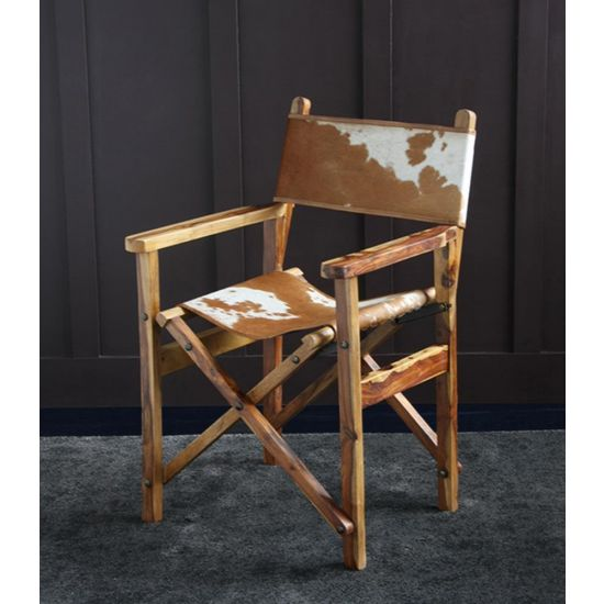 DIRECTORS CHAIR BROWN & WHITE COW HIDE SEAT AND BACK WITH NATURAL SOLID WOOD FOLDING FRAME
