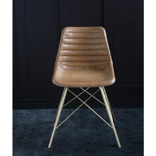 ROAD HOUSE CHAIR WITH GOLD CROSS LEGS & CAMEL RIBBED SEAT