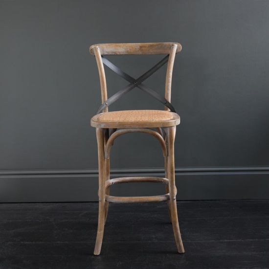 French Cross Back Bar Stool – Weathered Elm – Rattan Seat height 66 cm