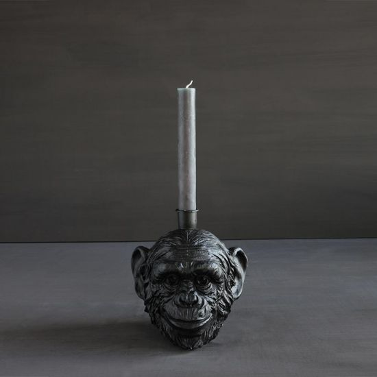 Monkey Candle Holder Black Polyresin Candlestick Home Ornamental Display