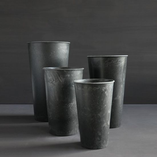 Yrsa 4 Plant Pots Tall Grey Black Plastic Garden Planters Various Sizes Flowers
