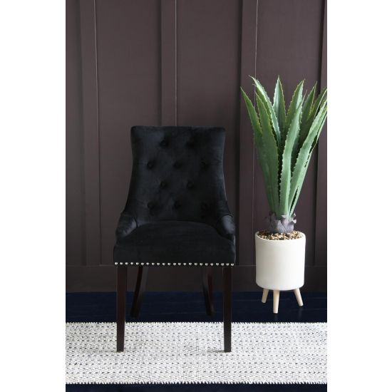 Kensington Black Velvet Knocker Back Upholstered Chair with Studs
