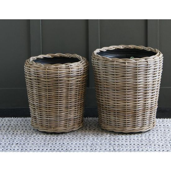 RATTAN PLANTER SET WITH PLASTIC LINER
