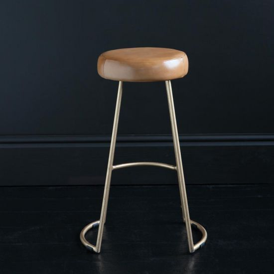 TAPAS INDUSTRIAL BAR STOOL CARAMEL LEATHER SEAT 69 CM GOLD BASE