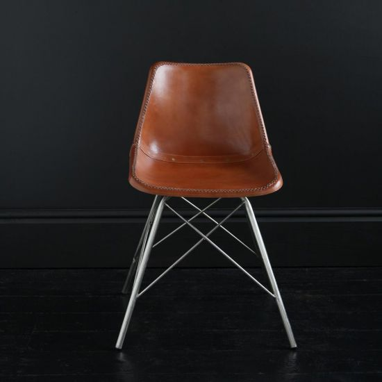 ROAD HOUSE CHAIR WITH TAN LEATHER SEAT & NICKEL CROSS LEGS