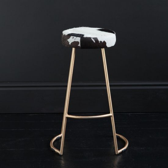 TAPAS INDUSTRIAL BAR STOOL BLACK & WHITE SEAT 67 CM GOLD BASE