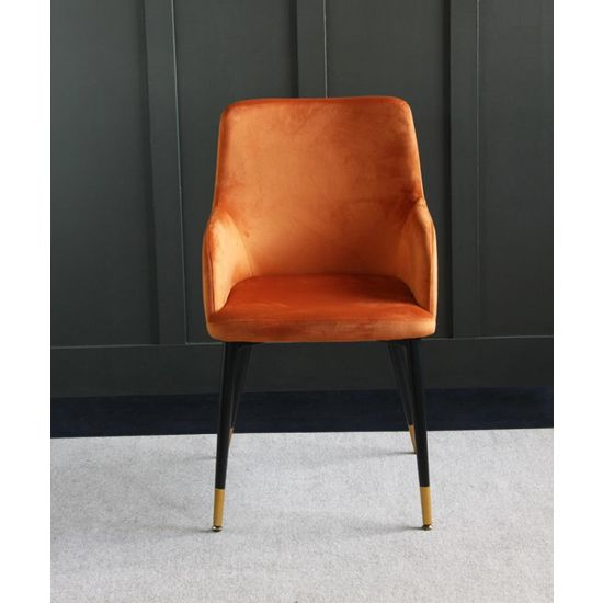 The Grand Orange Velvet upholstered dining chair with Pencil leg and raised sides