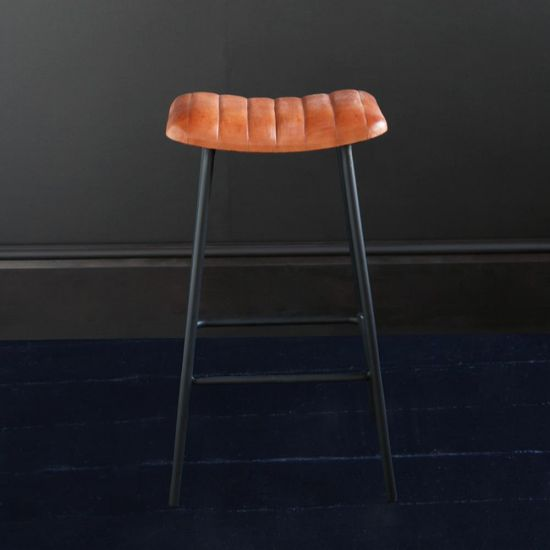 THE ENFIELD BAR STOOL WITH TAN BUFFALO UPHOLSTERED SEAT BLACK METAL BASE, 66 CM