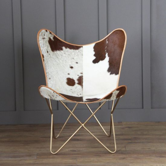 BUTTERFLY ACCENT CHAIR, COW HIDE, BROWN, GOLD BASE