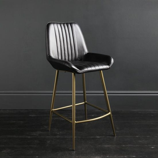 Brooklyn Bar Stool Leather Black Ribbed Seat & Brass Frame 66 cm