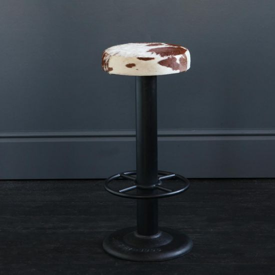 THE POLE METAL STURDY BAR STOOL BROWN & WHITE, 70 CM OVERALL HEIGHT