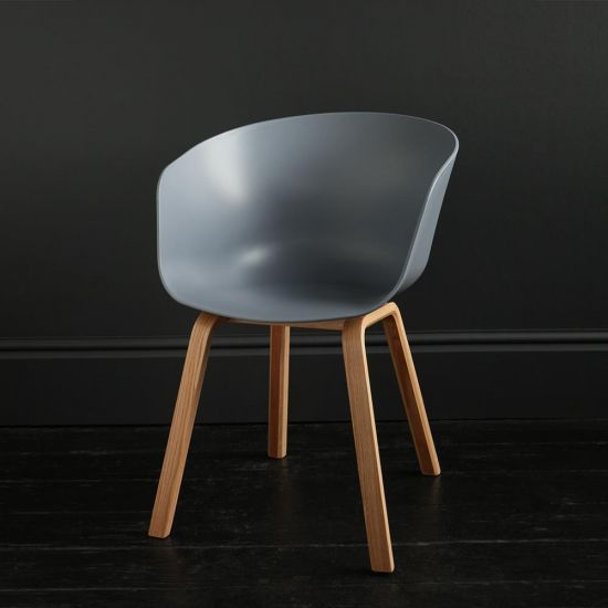 Portobello Tub Dining Chair Grey Seat and Natural Wooden Leg Contemporary Scandi