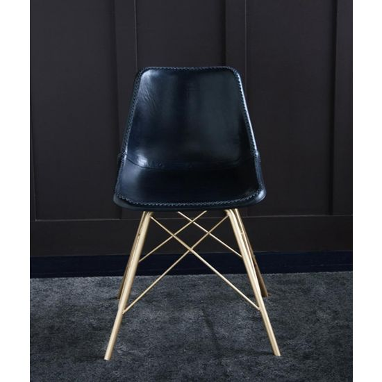 ROAD HOUSE CHAIR WITH BLUE LEATHER SEAT & GOLD CROSS LEGS