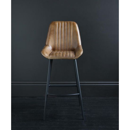 BROOKLYN LEATHER OLIVE BROWN RIBBED UPHOLSTRED WITH BLACK FRAME AND FOOTREST 75 CM
