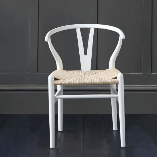 Wishbone Dining Chairs Hans Wegner Reproduction White /Ash and Natural Seat