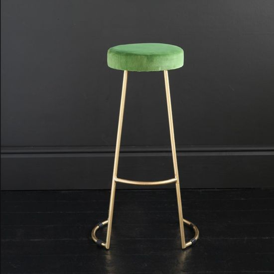 Tapas Velvet Cocktail Bar Stools - Green Grass Velvet Seat - Gold base - 75 cm