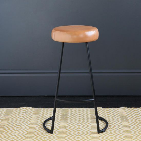 Tapas Industrial Bar Stool Caramel Leather Seat 67 cm Black Base