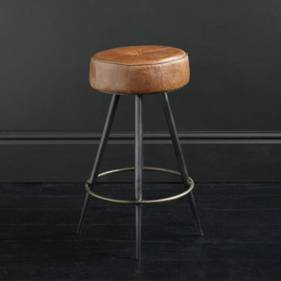 Crompton 65 Brown Leather Round Bar Stool with Pewter Coloured Frame and Brass-Finished Footrest.
