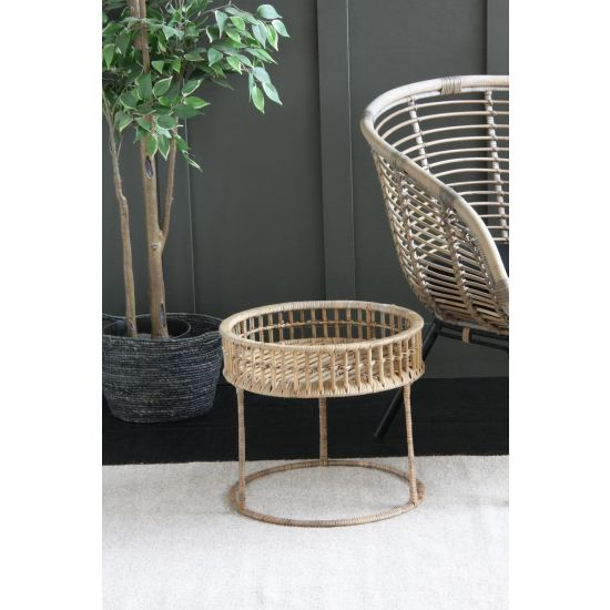 Rattan Side Table Small light round rattan side table 39cm Dia.- 37cm H