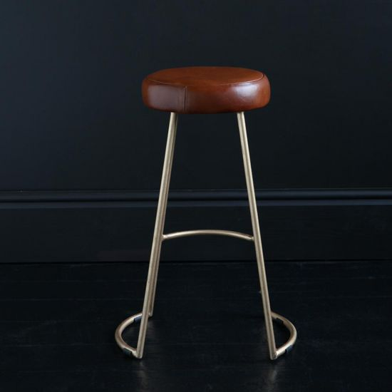 TAPAS INDUSTRIAL BAR STOOL TAN LEATHER SEAT 67 CM GOLD BASE