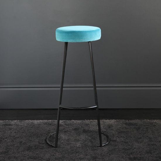 Tapas Velvet Bar Stools Stain Resistant Pacific Blue Seat- Black Base - 75 cm