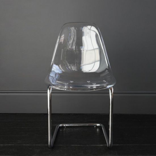 Finley Dining Chair Perspex Clear Seat  Chrome Base Restaurant Café Style